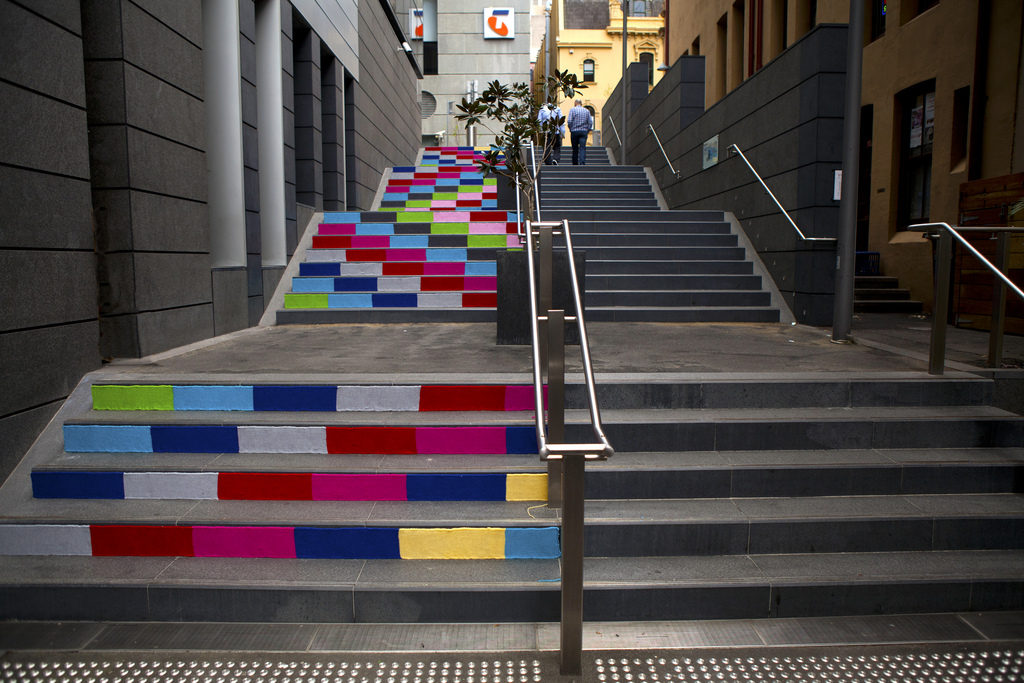 Magda Sayeg's Knit Graffiti on the Steps of Sussex Lane