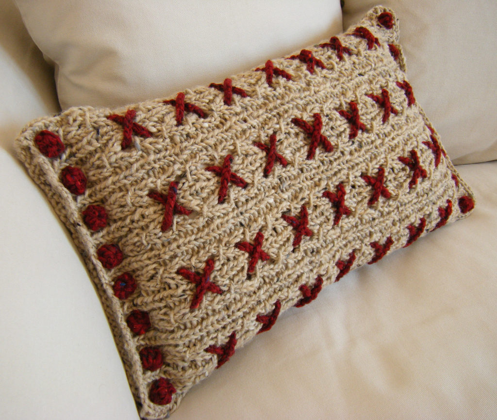 Reversible Knitted Cushion Cover - She Calls It 'Cranberry Kisses'