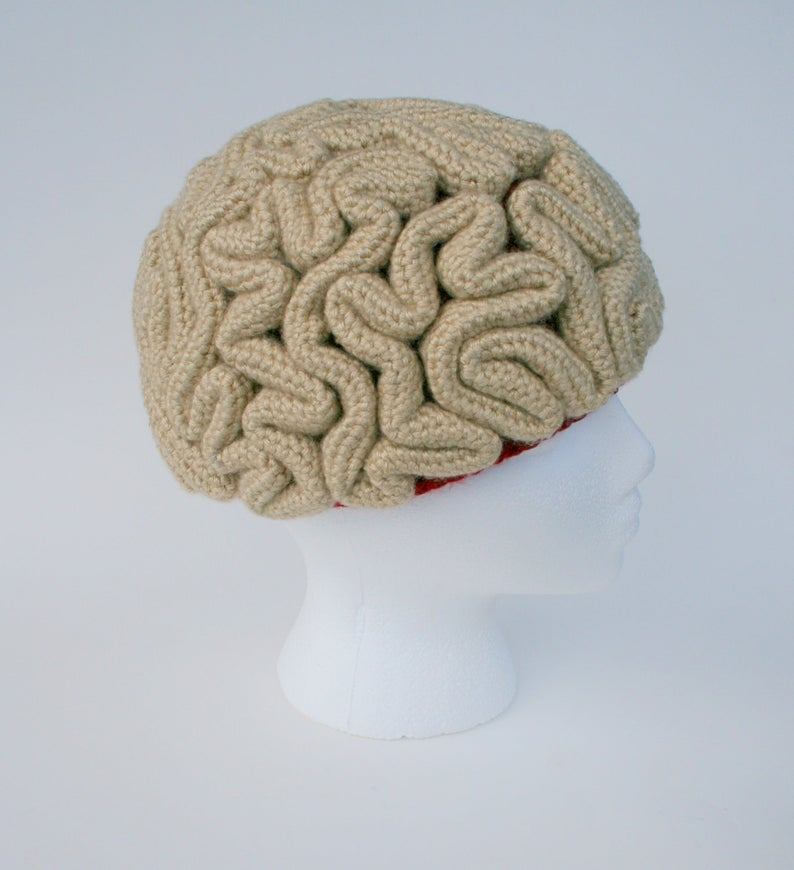 Crochet a Zombie Brain Hat ... So Good! Knit Option Available!