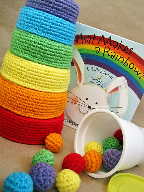 Rainbow Nesting Bowls & Color Sorting Balls For Kids – Free Crochet Pattern!