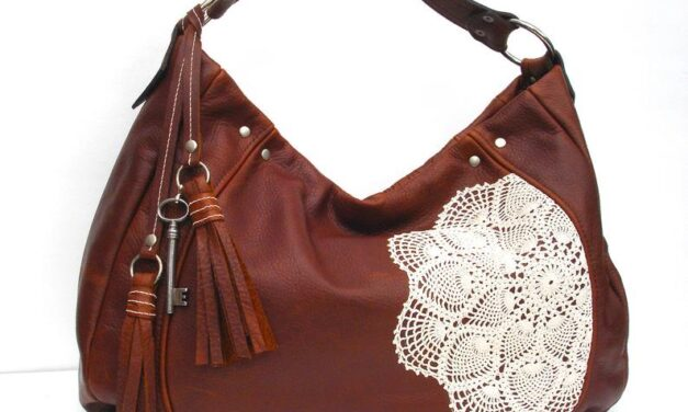 Lace and Leather Meet! Gorgeous Messenger Bag With Crochet Doily – Makes A Great Gift!
