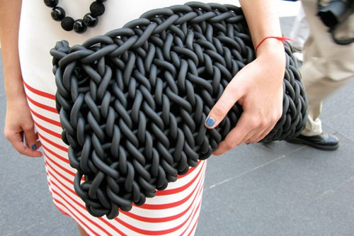 Oversized Knit Neoprene Clutch - Looks Like Rubber!