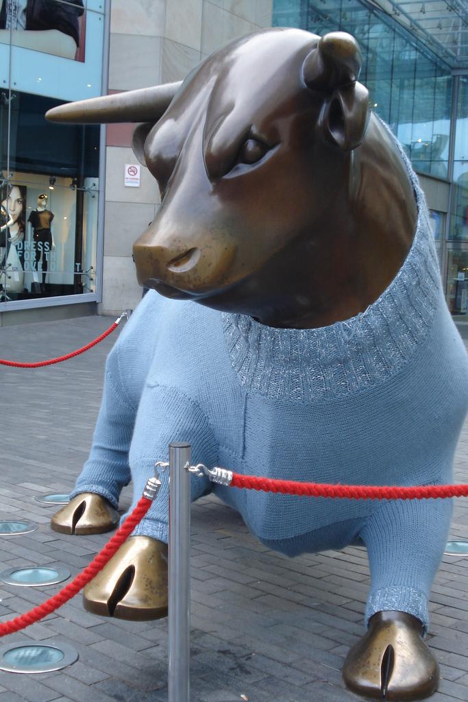 Birmingham Bull in Winter Wool Yarn Bomb - So Fun!