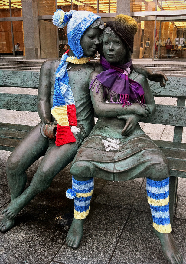 'Secret Bench of Knowledge' Yarn Bomb At Library and Archives Canada