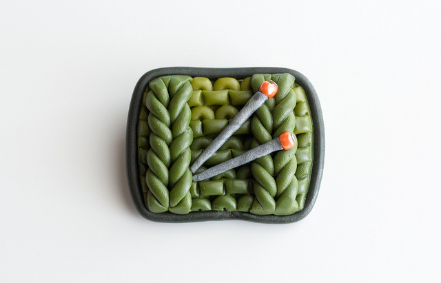 Green 'Knitted' Brooch … You Learn How To Knit Polymer Clay Too!
