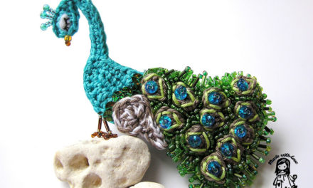 Beautiful Bead and Crochet Peacock Brooch – True Work of Art