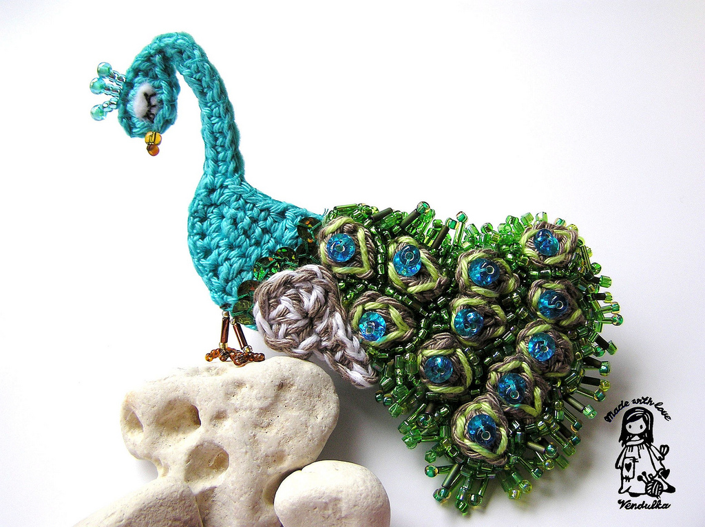Beautiful Bead and Crochet Peacock Brooch - True Work of Art