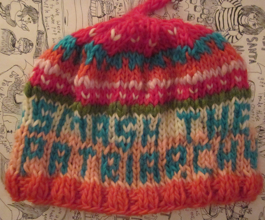 Knitted 'Smash the Patriarchy' Tuque (aka Beanie)