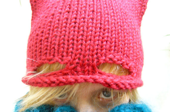 Cute Knitted Cat Hat … Today We Might Call It A Superhero Pussy Hat!