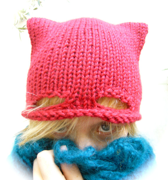 Cute Knitted Cat Hat ... Today We Might Call It A Superhero Pussy Hat!