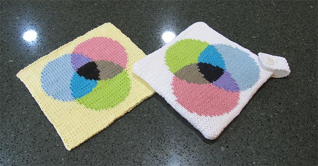 Venn Diagram Inspired Potholders - Get the Knit Patterns!