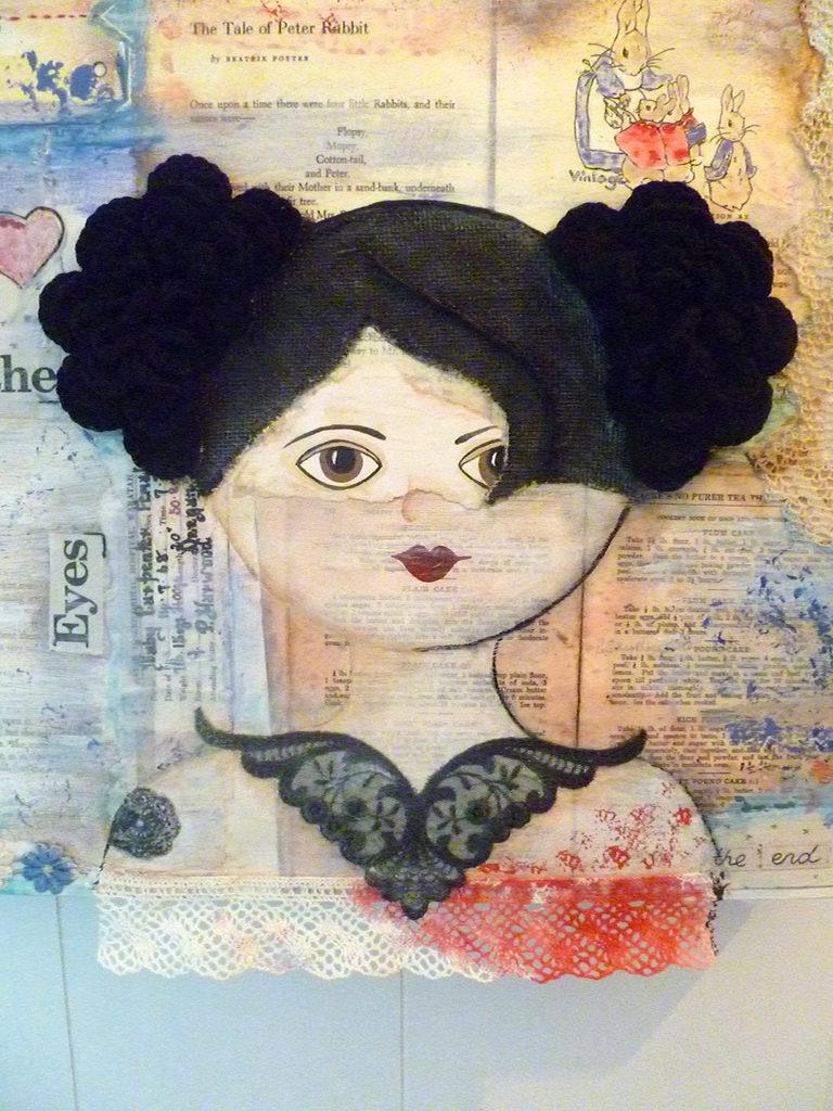 Beautiful Mixed Media Portrait With Fun Crochet Hair