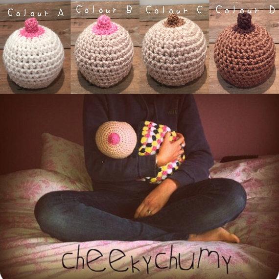 Hilarious Crochet 'Boobie Beanie' for Breastfeeding Baby
