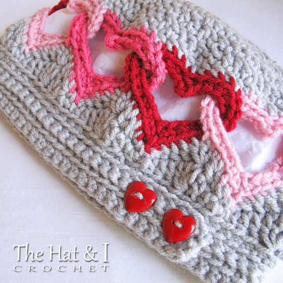 Crochet a Linked Heart Hat … This Pattern is Perfect For the Love Who Stole Your Heart …