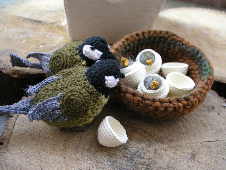 She Crocheted A Family Of Great Tits ... Don't Worry, It's Safe to Click ...