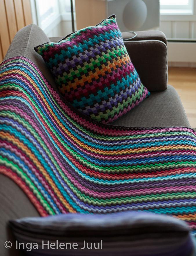 Gorgeous 'Granny-Stripe' Blanket and Pillow Set By Inga Helene Juul