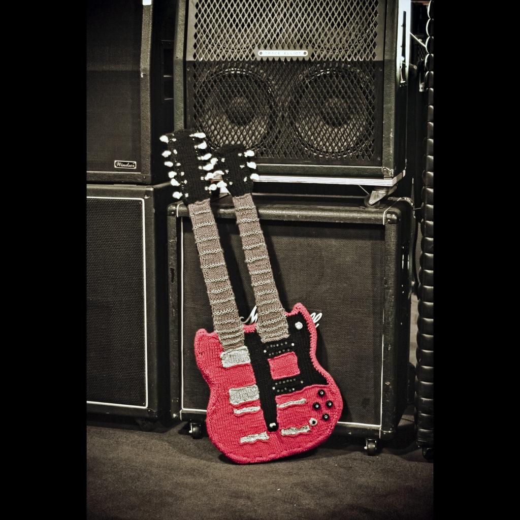 She Knit a Jimmy Page Doubleneck Guitar!