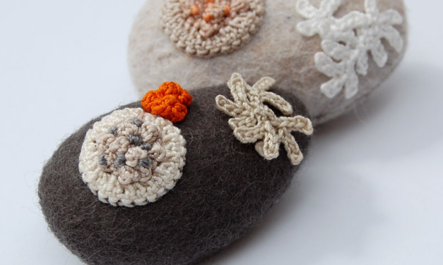 Felted Stone Brooches With Lichen Motifs By Elin Thomas