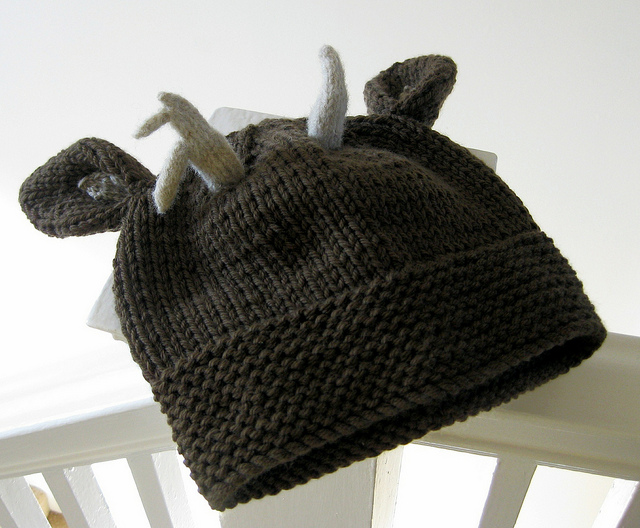 Adorable Knitted Beanie With Tiny Wee Antlers