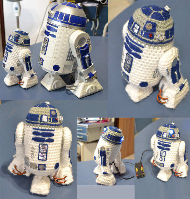 Awesome R2 D2 Amigurumi Crocheted With Leds Knithacker