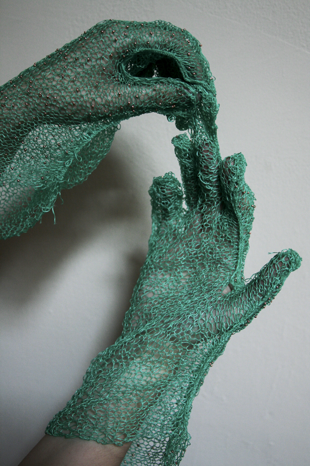 She Knit Gloves With Dental Floss