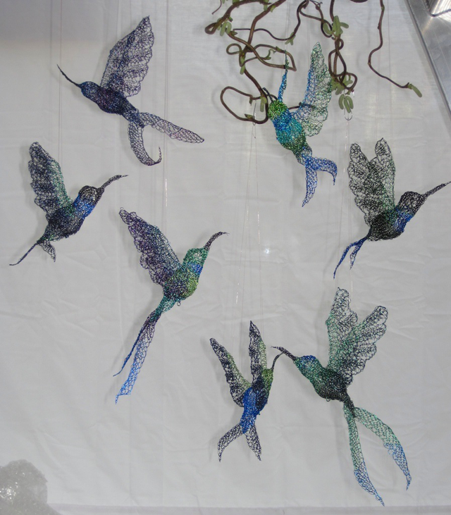 Hummingbirds Hand-Knitted in Wire for the 'Ghosts of Gone Birds' Project