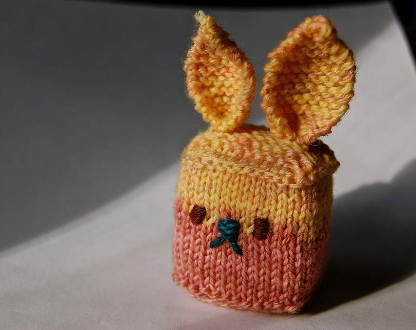 Quirky Knitted Bunny Cube - Odd and Adorable