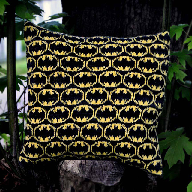 I believe in Gotham City ... and This Knit Batman Pillow by Tracy Widdess