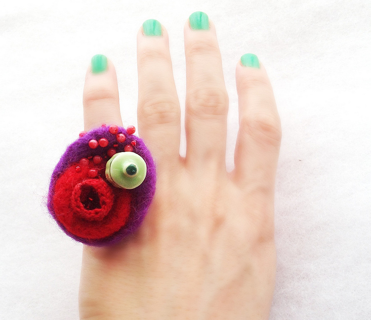 Felted Art Ring With Crochet & Porcelain Elements