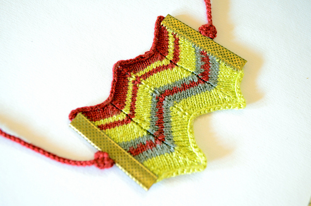 Unique Knitted Chevron Necklace by PratinArt