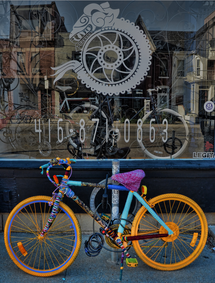 Yarn Bombed Bike Spotted Outside Chilango Cycles in Toronto