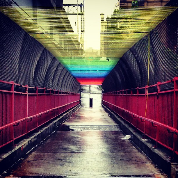 HOTTEA Yarn Bombs the Williamsburg Bridge in Rainbow