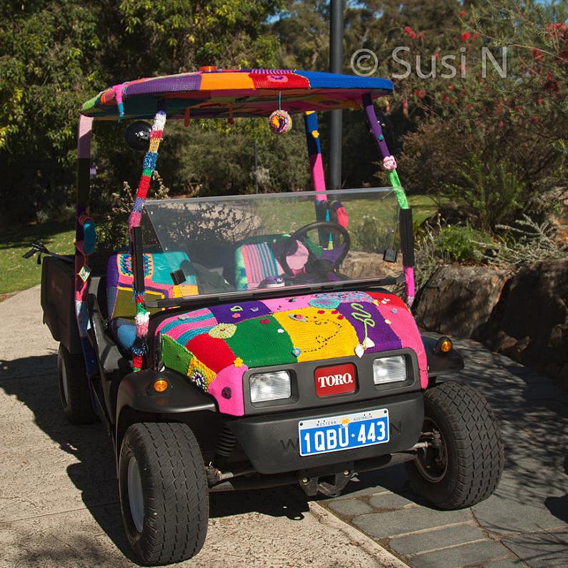 Yarn Bomb Golf Cart