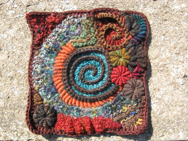 Superb Spirally Afghan Square – Freeform With Crochet Bullions!