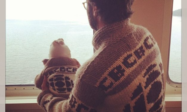 """Like father, like son."" Baby CBC sweater knitted by CBC Radio 3 fan Shazzer Bedazzler."