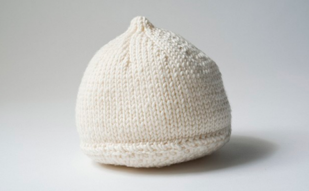 A breast prosthesis knitted by Louise Sargent.