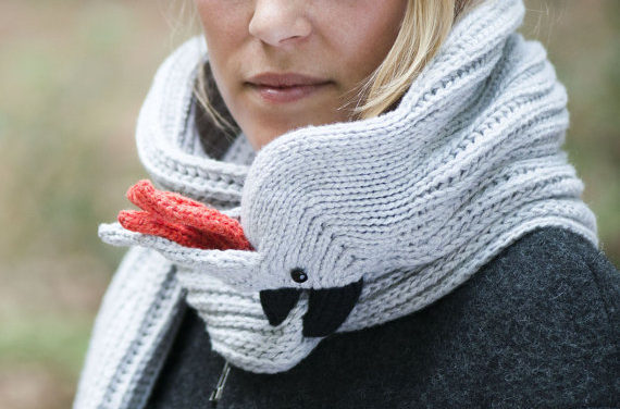 Nina's Knitted Cockatoo Scarf … You Can Knit One Too!