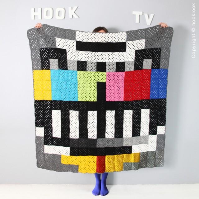 Crochet a 'TV'  Blanket From HookLook's Quirky 'Pixel Plaids' Book