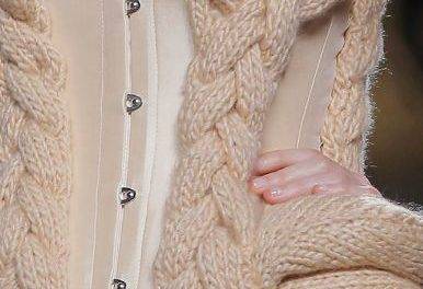 beige knitted wool corset by Maya Hansen