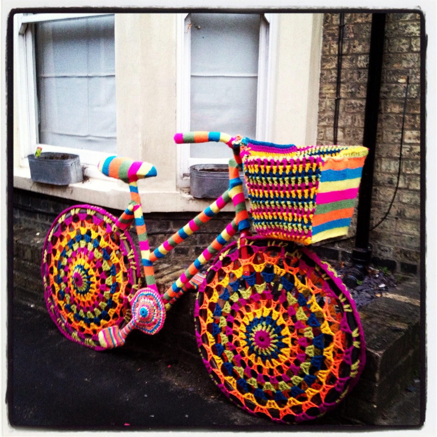 They Yarn Bombed a Bike for Charity!