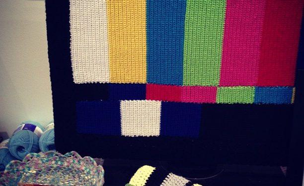 TV Test Pattern Yarn Bomb