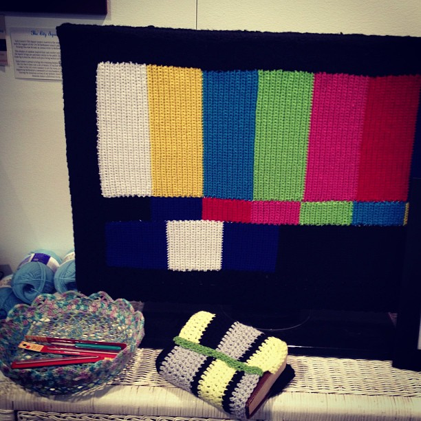 TV Test Pattern Yarn Bomb