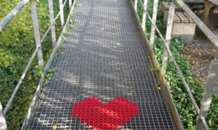 Cross-Stitch Heart Yarn Bomb