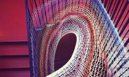 Stairwell yarnbomb at Dovecot Studios