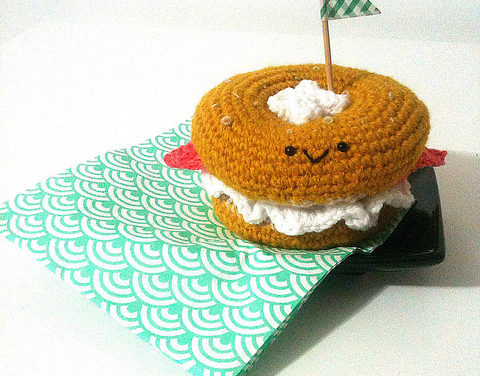 Amigurumi Bagel With Cream Cheese and Salmon