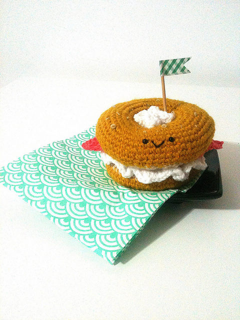Crochet Amigurumi Bagel With Cream Cheese and Salmon!