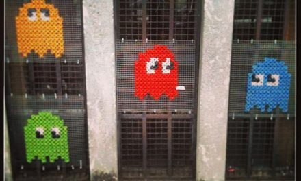Pac-Man Yarn Bomb – It's Cross-Stitched!