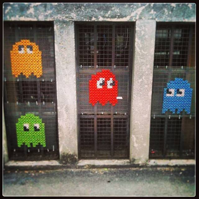 Pac-Man Yarn Bomb - It's Cross-Stitched!