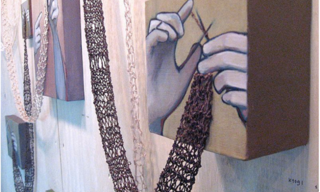 Knitting and Painting by Rania Hassan