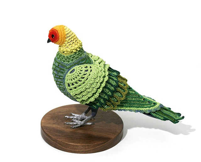 Rainbow Pigeon (Carolina Parakeet) made by Laurel Roth as part of Biodiversity Reclamation Suits for Urban Pigeons: Carolina Parakeet
